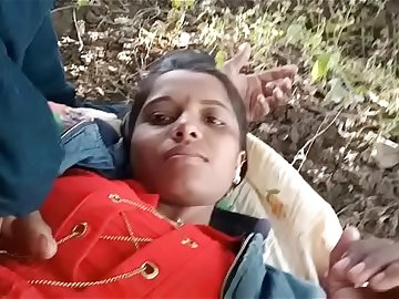 Indian girl outdoor with boyfriend boobs showing